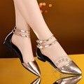 Лодыжки Ремень Блеск Шампанское Яркий Золотой Коровы Размер Отверстия 34 Мягкая Кожа Китай женская Обувь Чистый Цвет