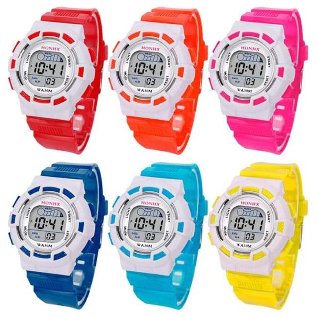 2019 Fashion Waterproof Children Boys Digital LED Sports Watch Kids Alarm Date W