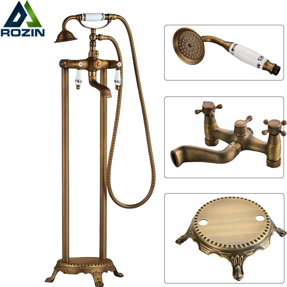 Dual Handles Bathroom Floor Mount Bathtub Filler Freestanding Bathtub Faucet Antique Brass with Hand Shower Rotate