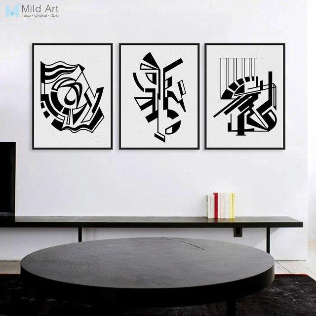 Modern Minimalis Nordic Hitam Putih Simbol A4 Besar Seni Poster
