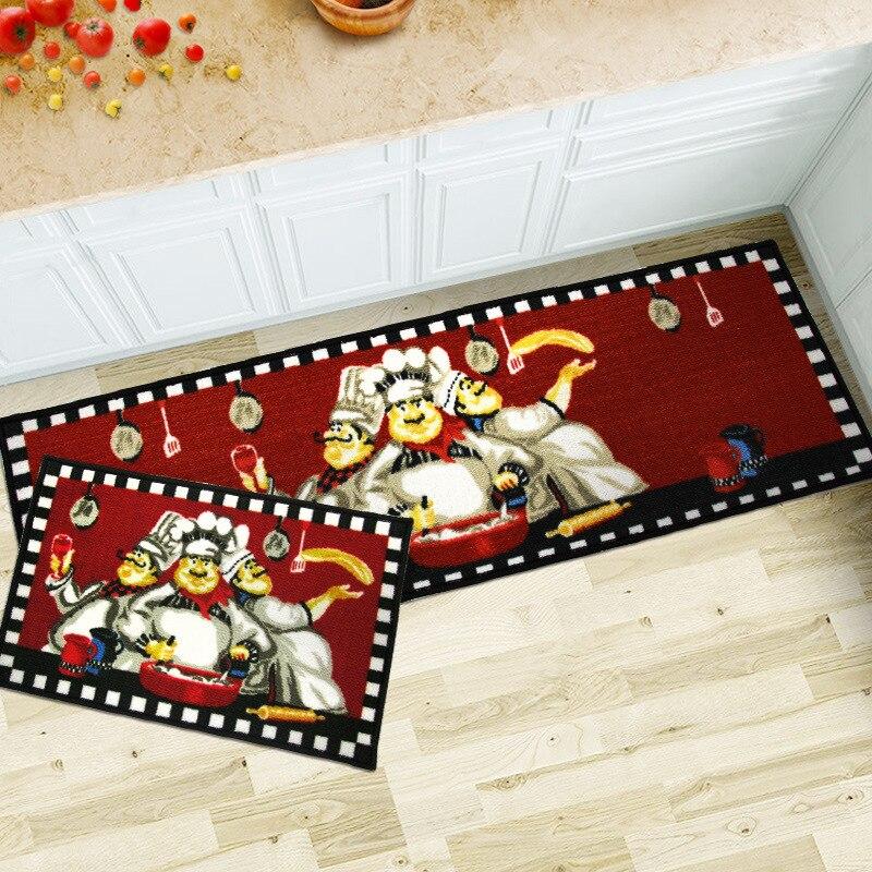 40X60 + 40X120 CM/Set Cook Cartoon tapis de cuisine accueil entrée/couloir paillasson armoire/balcon zone tapis anti-dérapant tapis de bain