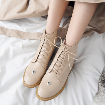 Luxury Brand Eyes Shoes Women Boots Round Toe Soft Genuine Leather Ankle Boots for Women Autumn Pigskin/Winter Short Plush Boots