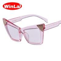 Winla Nouvelle Arrivée Cat Eye Lunettes Cadre Objectif Clair pour Femmes Style de la Mode Élégante Femme Lunettes Transparent Accessoires