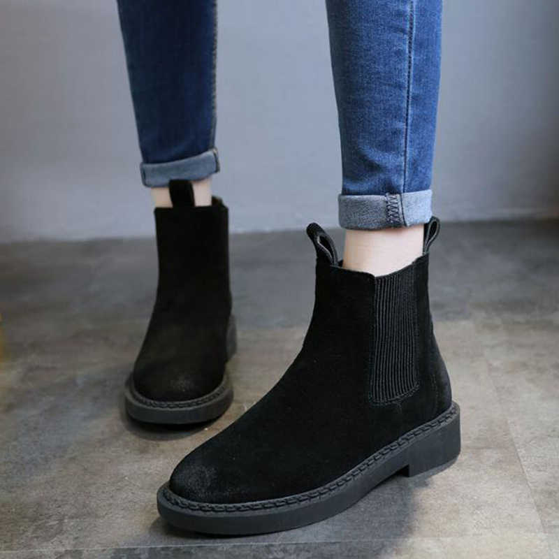 Hakiki deri kadın Chelsea çizmeler marka kış sıcak kısa yarım çizmeler artı boyutu platformu tek daireler Martin ayakkabı kadın 30