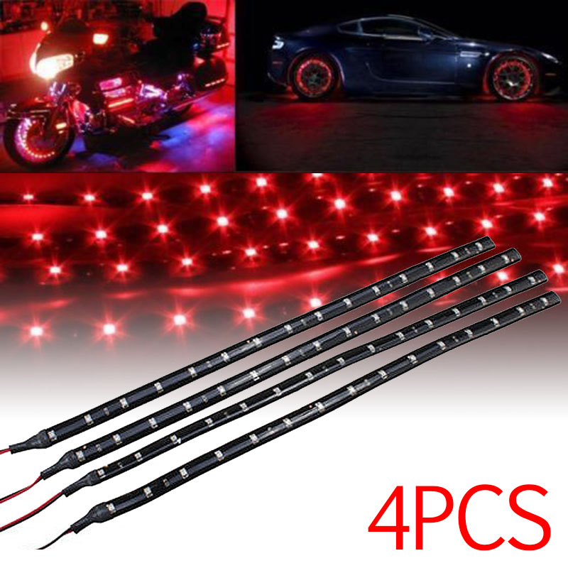 SODIAL Red 4 Pcs 30cm Car Truck Flexible Waterproof LED Light Strip Red R