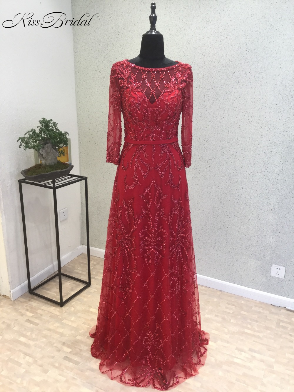 New Amazing Long Evening Dress 2018 O-Neck Long Sleeves A-Line Floor Length Beading Lace ...