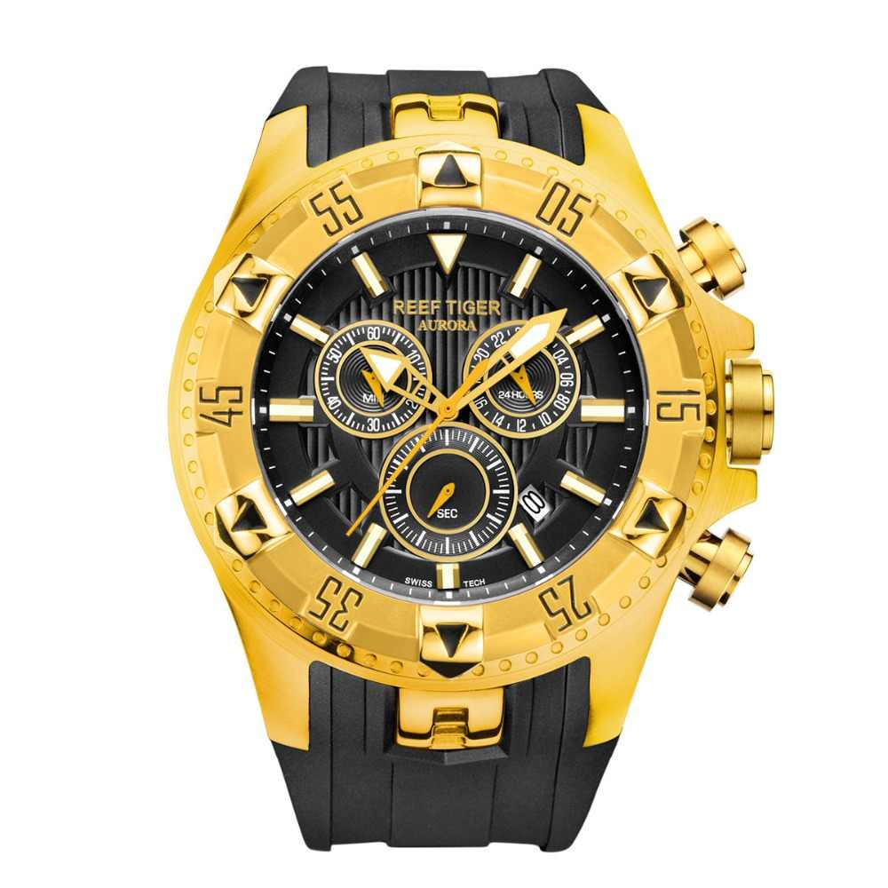 Reef Tiger/RT Sport Mens Watch with Chronograph Date Yellow Gold Rubber Strap Quartz Watches reloj hombre masculino RGA303