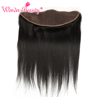 Wonder Beauty Peruvian Remy Hair Straight Free Part Lace Frontal Closure Hand Tied 13x4 Lace Frontal