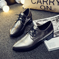 British style women oxfords shoes low top lace up pointed toe shiny pu leather flat casual shoes mocasines feminino XK120706