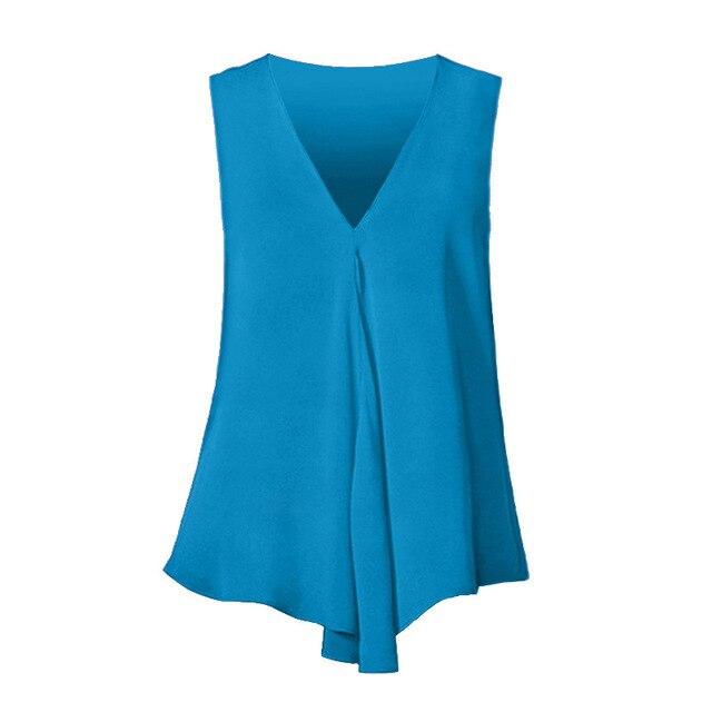 Fashion Women Chiffon Blouses Ladies Tops Sleeveless V Neck Shirt Blusas Femininas Plus Size S-6XL Female Solid Color Clothing 5