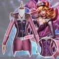 LOL Cosplay Juego El Zorro de Nueve Colas de Ahri Popstar Púrpura Lucha Traje Conjunto Completo