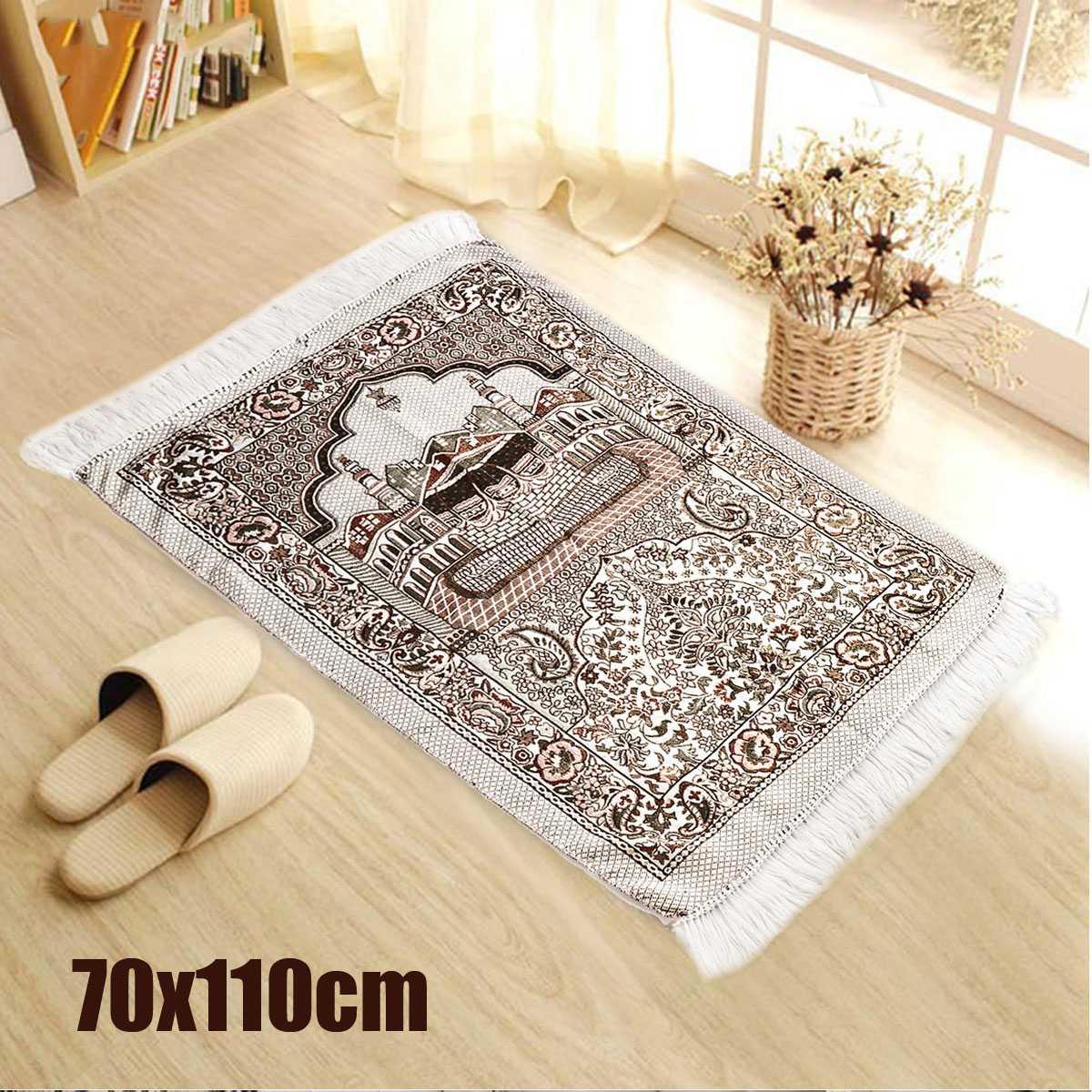 Bohemian Islamic Muslim Prayer Rug Carpet Mat Polyester Namaz Salat Tassel Tablecloth Cover Yoga Mat Blanket Decoration 70x110cm