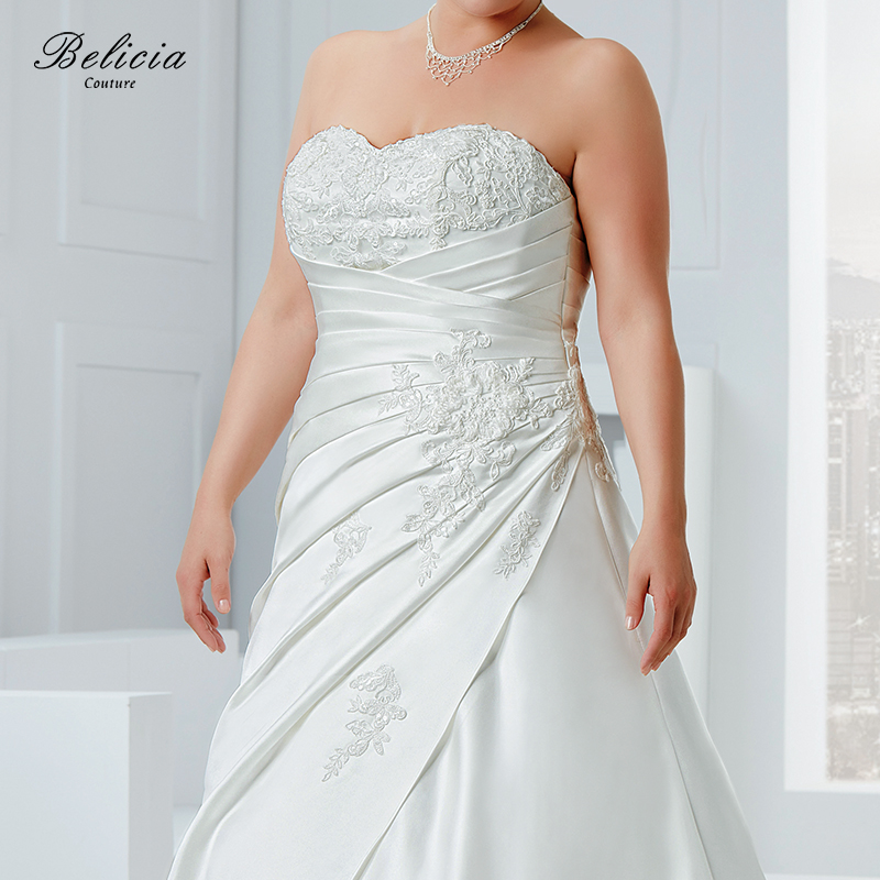 Belicia Couture Wedding dress Plus Size Satin Bridal Gown Beading Appliques  Strapless Sweetheart Lace Up Back Pleat Waist-in Wedding Dresses from  Weddings ... 5f03d28bcdfe