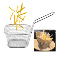 Panier à passoire en acier inoxydable | Mini panier à frire, passoire, friteuse, cuisine, panier de Chef, outil de passoire, panier de frites 4