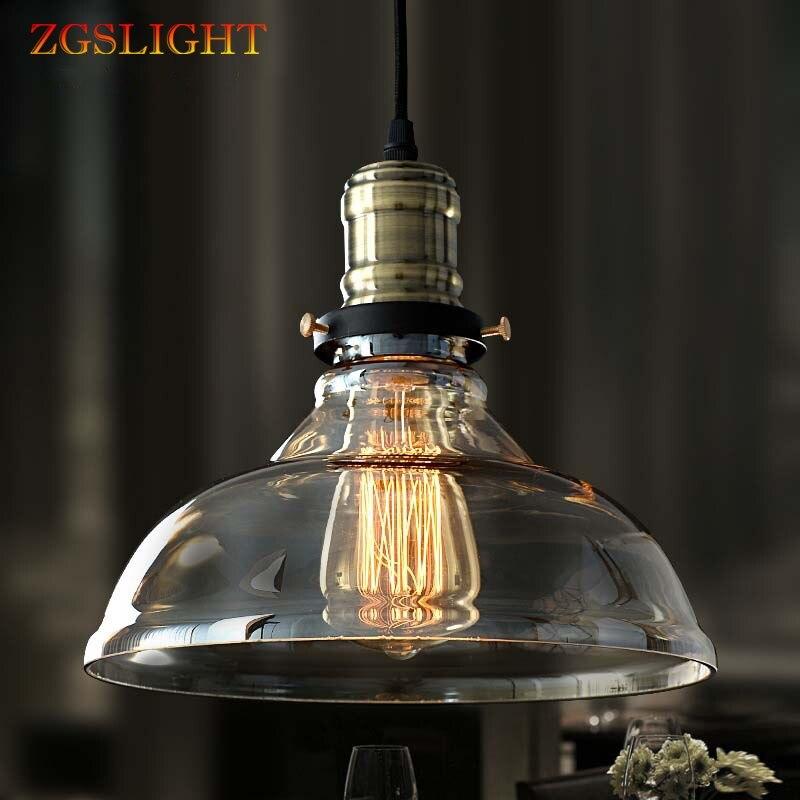 Retro Glass Hanging lamp Vintage Pendant Lights Russia Loft Luminaire Modern Kitchen Dining Bedroom Pendant Lamp E27 Lamp Holder