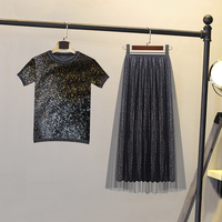 sweet ice silk suit female summer dress women bright mesh flash short sleeve Tops + pleated skirt two piece