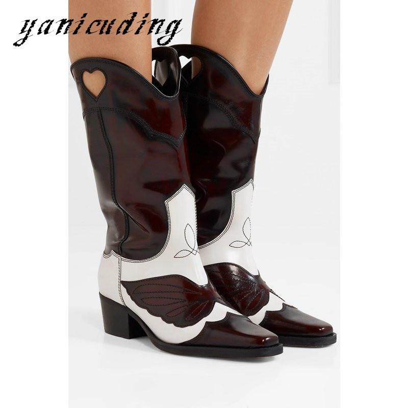 Lâche Chevalier Creux Broder Mi Femme Bottes Show En mollet Cowboy Chaussures High Out Top Show Cuir as Doux Couleur Piste Casual As Mixte Parti xnPqX0O40