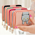 Women Wallet,Fashion Lovely Cartoon Printed Cat Wallet Soft Leather Clutch Purse Short Card Coin Lady Bag Gift LL1473