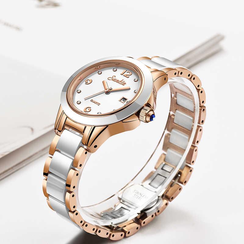 SUNKTA mode femmes montres or Rose dames Bracelet montres Reloj Mujer 2019New créatif étanche montres à Quartz pour les femmes