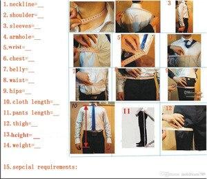 Image 5 - オレンジノッチラペル 2 ボタン男性スーツ、カスタマーオムファッションブレザー男性クールタキシードハンサム (ジャケット + パンツ + ネクタイ + ハンカチ)