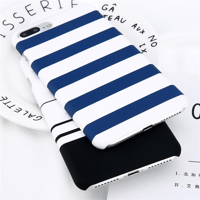 Lovebay Phone Case For iPhone 8 7 6 6s Plus 5 5s Fashion Black and White Stripes Hard Plastic Protect Cover Cases For iPhone 8  1