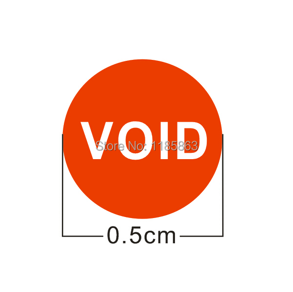 Factory Direct diameter 5mm warranty sticker Red fragile label 500pcs / lot free shipping