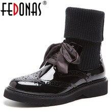 FEDONAS جديد 2019 حذاء نسائي بكعب عالٍ الجوارب الأحذية جلد طبيعي فراشة عقدة دراجة نارية مثير أحذية نادي الحفلات امرأة