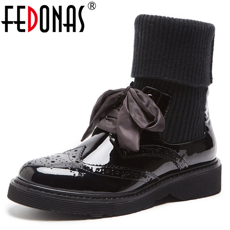 FEDONAS New 2019 Women High Heels Socks Boots Genuien Leather Butterfly-Knot Motorcycle Boots Sexy Party Club Shoes Woman