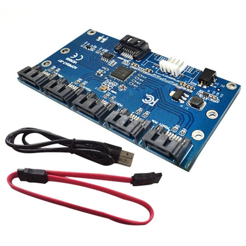 SATA 1 to 5 Hard Disk Adapter Card Motherboard SATA Port Multiplier Support SATA3.0 Expansion Card