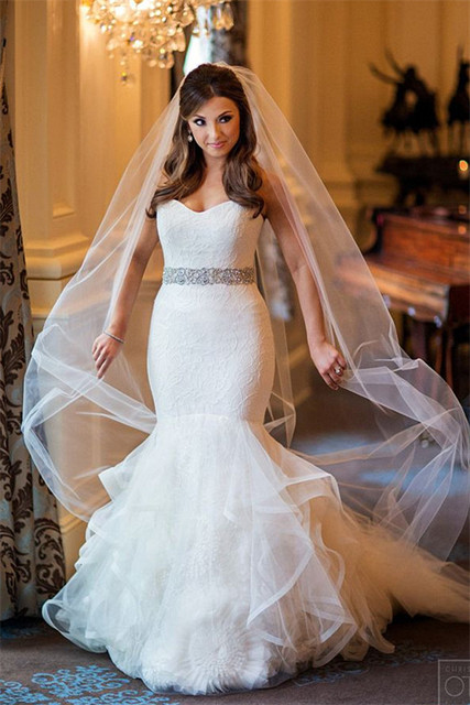 Sparkly Sweetheart Mermaid Wedding Dresses Lace Tulle Beads Bridal Gowns  vestido de noiva 5c43f97ce2d2