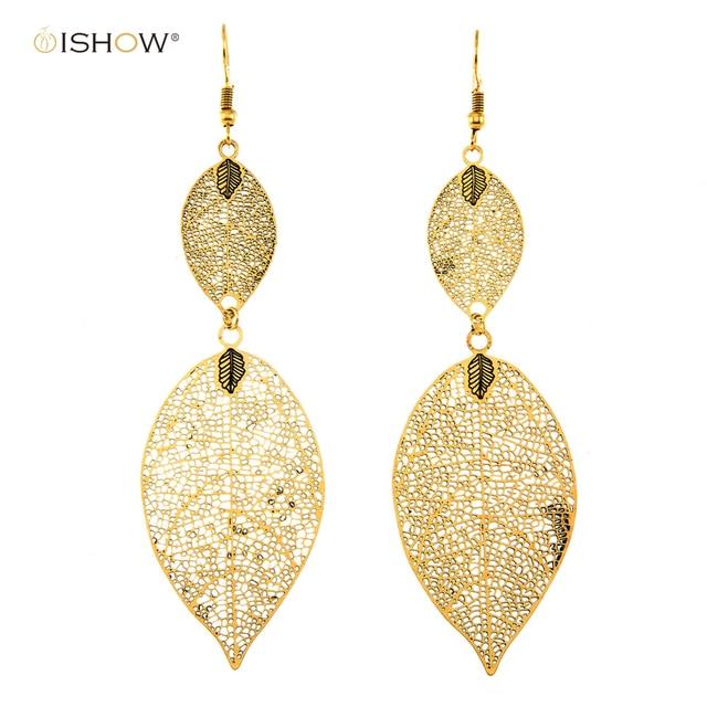 New Arrival Hollow Leaves Earrings For Women Filigree Antique Gold Leaf Drop Fashion Jewelry Eardrop