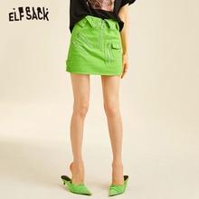 Mini Skirt Neon Green Bottoms Waist Streetwear Woman Fashion Summer Solid ELFSACK Fly-Mid