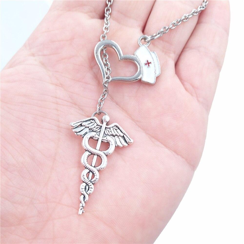 aliexpress com buy minimal enamel nurse cap and caduceus pendant