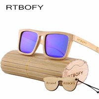 RTBOFY Wood Sunglasses Polarized Sunglasses Men Women Real Bamboo Wood Eyewear Mirror Lenses Wood Sunglasses