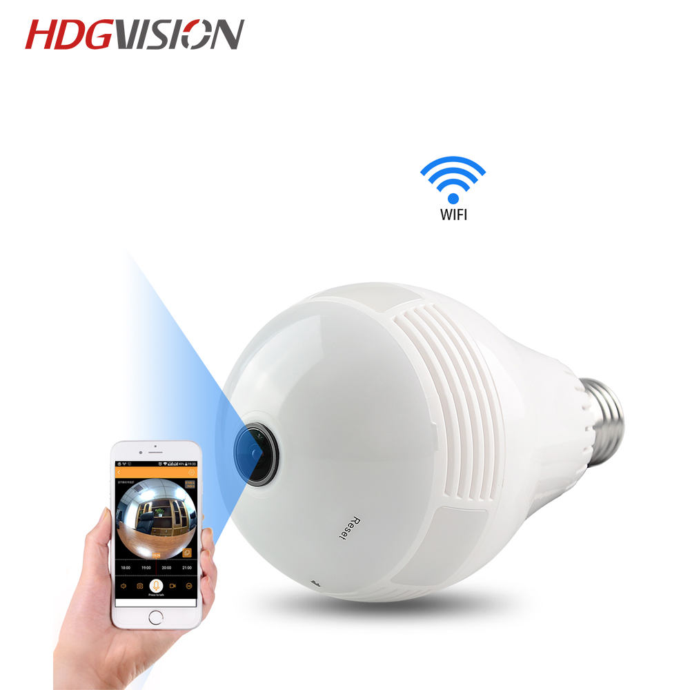 HDGVISION Bulb Light Wireless IP Camera FishEye 1080P 360 Degrees Mini CCTV 3D VR Camera 1.3/2.0MP Home Security WiFi Camera