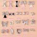 10 шт./лот, 3D ногтей аксессуары украшения элегантный короны бантом в форме сердца, Шику кристалл стразами в ногти советы красоты