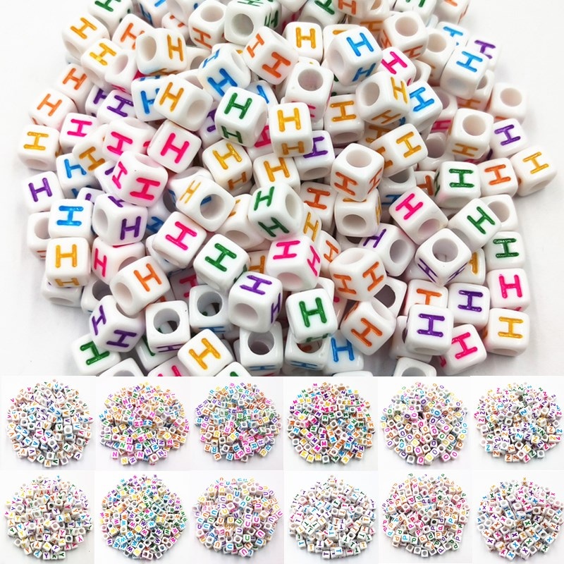 100PC//Lot Spacer Acrylic Beads Cube Alphabet Letter Bracelet Jewelry Making DIY