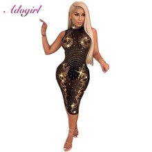 Adogirl נשים סקסי יהלומים נוצצים Sheer Mesh שמלה בתוספת גודל לראות דרך שרוולים לילה מועדון מסיבת שמלות מקרית Vestidos