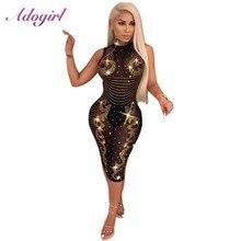 Adogirl kadınlar seksi köpüklü elmas tam örgü elbise artı boyutu See through kolsuz gece kulübü parti elbiseler Casual Vestidos