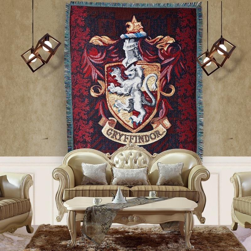 115x150cm Badge Tassels Tapestry Harri Potter Gryffindor Slytherin Hufflerpuff Ravenclaw Carpet Toy Party Action Figure скуби ду лего