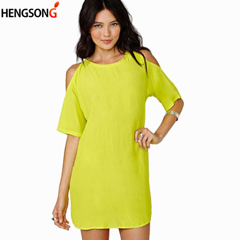 Women Off Shoulder Sexy Dress 2018 Summer Chiffon Dress Short Sleeve O-Neck Loose Casual Beach Dress Female Lady Vestidos Solid