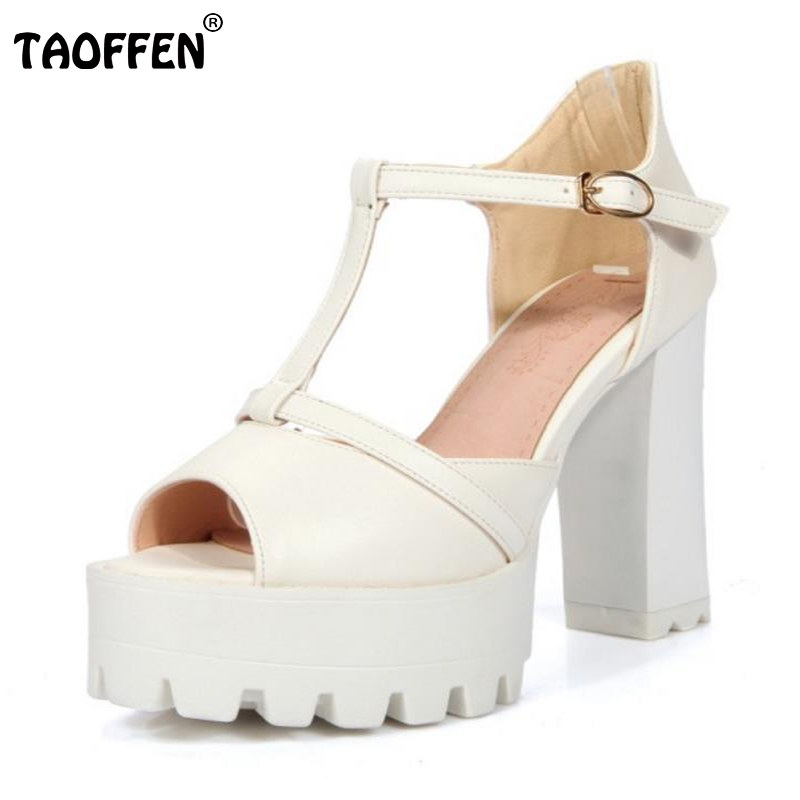 TAOFFEN Size 32-43 Sexy Lady High Heel Sandals Summer Shoes Women Peep Toe T Strap Thick Heels Pumps Party Club OL Footwears lady elegant sexy big size 4 17rhinestone peep toe pu buckle strap thin high heels women shoes pumps sandals girls summer style