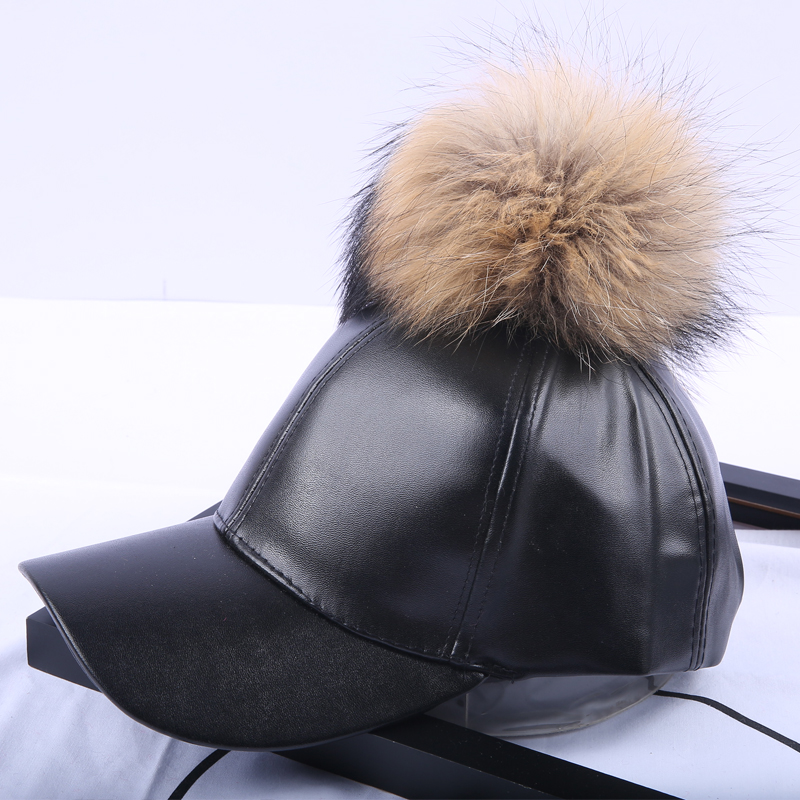 84d77a1ffdd Detail Feedback Questions about 14 Colors Fashion Real Raccoon Fur Pompoms  Hats Hip Hop candy color PU Leather Baseball Cap women Fur Pom Pom Snapback  Hat ...
