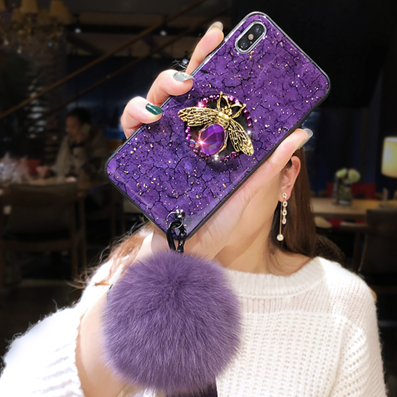 HTB1fXlXN4naK1RjSZFtq6zC2VXas Luxury marble glitter diamond bee bracket silicone phone case for iphone X XR XS 11 pro MAX 7 8 6S plus for samsung S8 S9 S10