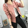 2016 women winter and autumn fashion all-match suede Faux Leather long-sleeve short jacket slim design outerwear female PU coat