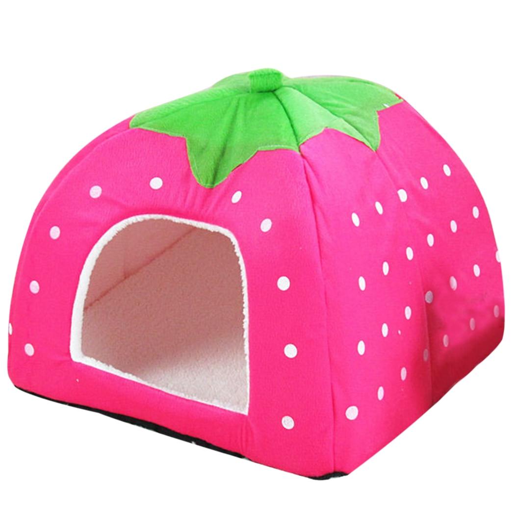 Coxeer Cute Dots Strawberry Soft Sponge Cat Dog font b Pet b font House font b