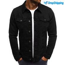 Mascube уличная одежда с длинным рукавом Мужская модная джинсовая куртка джинсовые куртки приталенная Повседневная куртка с отложным воротником