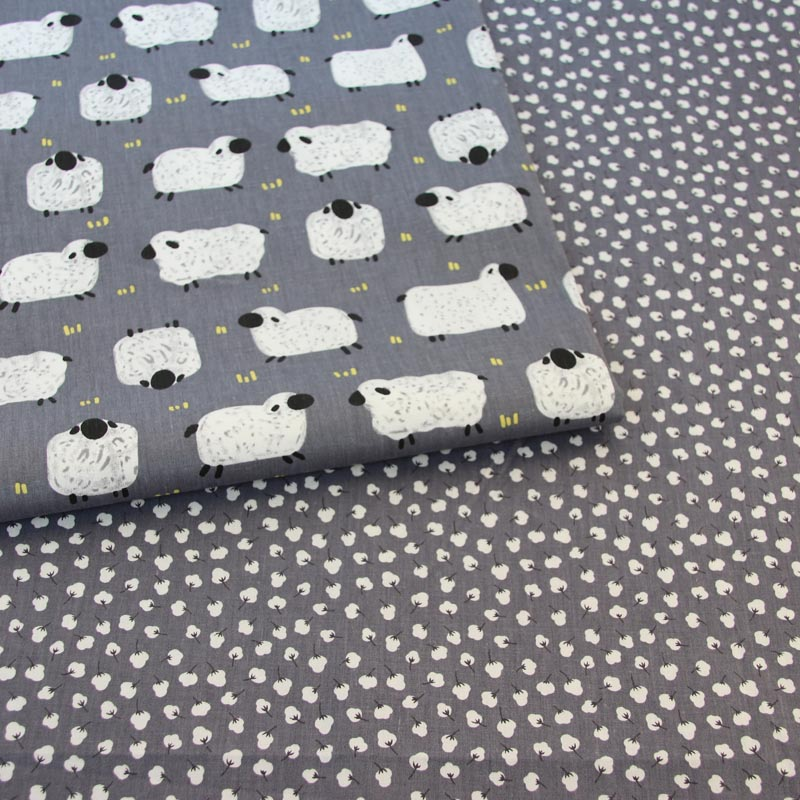 100% cotton twill cloth dark gray cartoon white sheep small cotton fabric for DIY crib bedding cushions apparel quilting decor