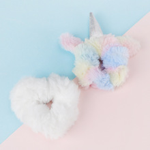 2 PCS/Lot Rainbow Velvet Scrunchie Coral fleece Hair Band Unicorn Silver Horn Elastic Scrunchies Boutique Accessories