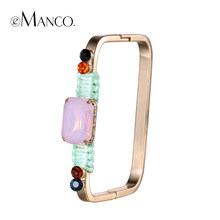 eManco Crystal Geometric Bangles Copper Square Bangle Colorful Rhinestone Hand Jewelry Gold-color Bracelets femmes(China)